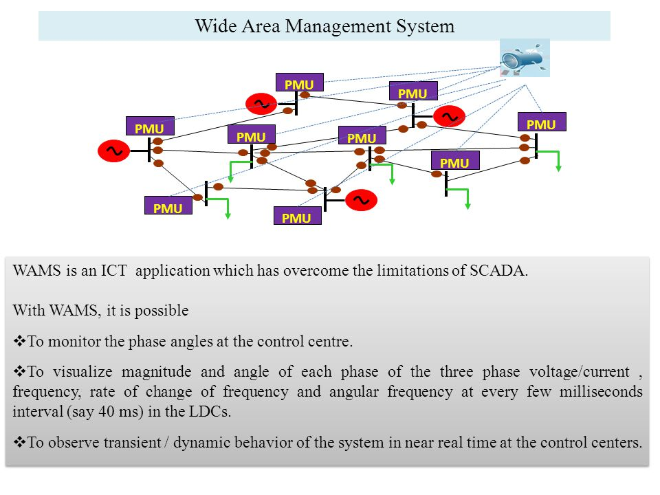 Wide Area Management System WAMS is an ICT application which has overcome the limitations of SCADA.