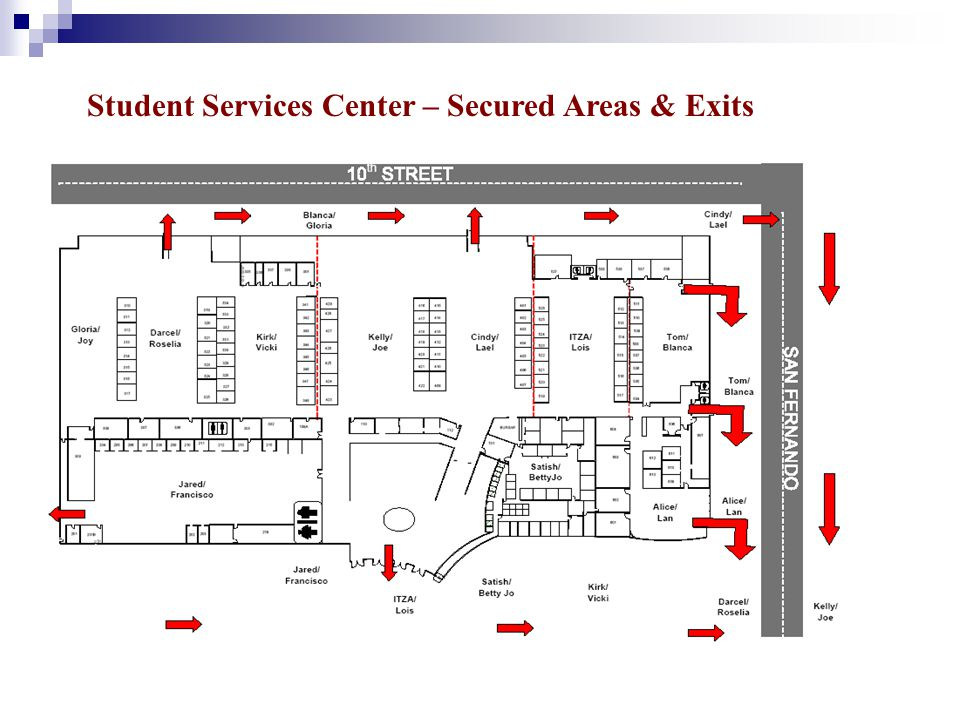 Student Services Center – Secured Areas & Exits