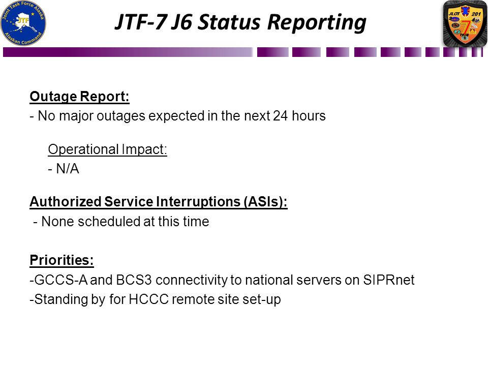 Outage Report: - No major outages expected in the next 24 hours Operational Impact: - N/A Authorized Service Interruptions (ASIs): - None scheduled at