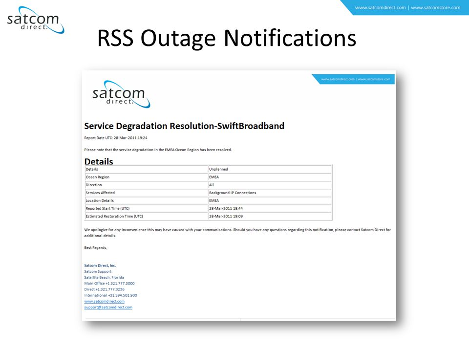 RSS Outage Notifications