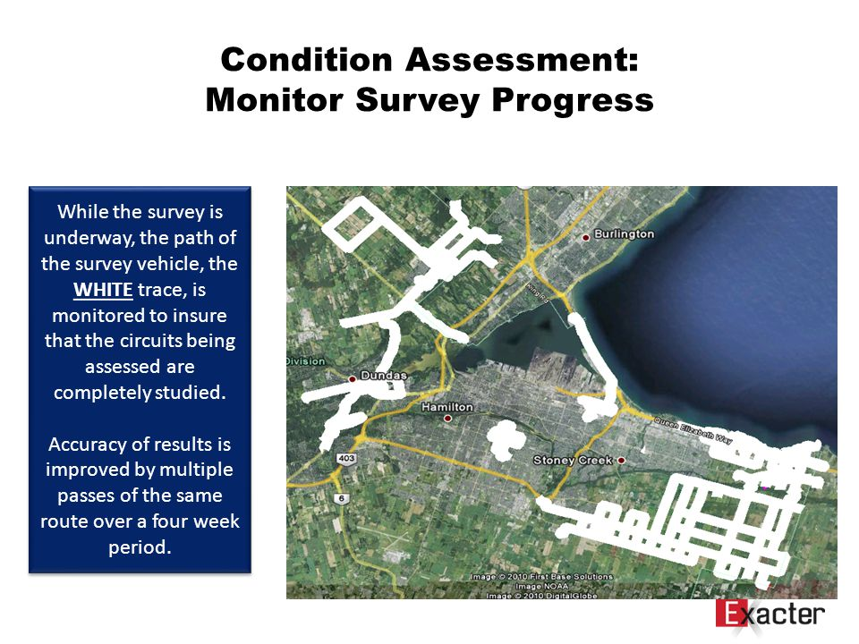 Survey Quality Control Condition Assessment: Monitor Survey Progress While the survey is underway, the path of the survey vehicle, the WHITE trace, is