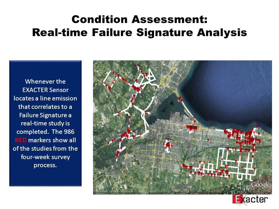 Condition Assessment: Real-time Failure Signature Analysis Whenever the EXACTER Sensor locates a line emission that correlates to a Failure Signature a real-time study is completed.