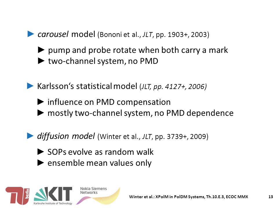 Winter et al.: XPolM in PolDM Systems, Th.10.E.3, ECOC MMX ► carousel model (Bononi et al., JLT, pp.