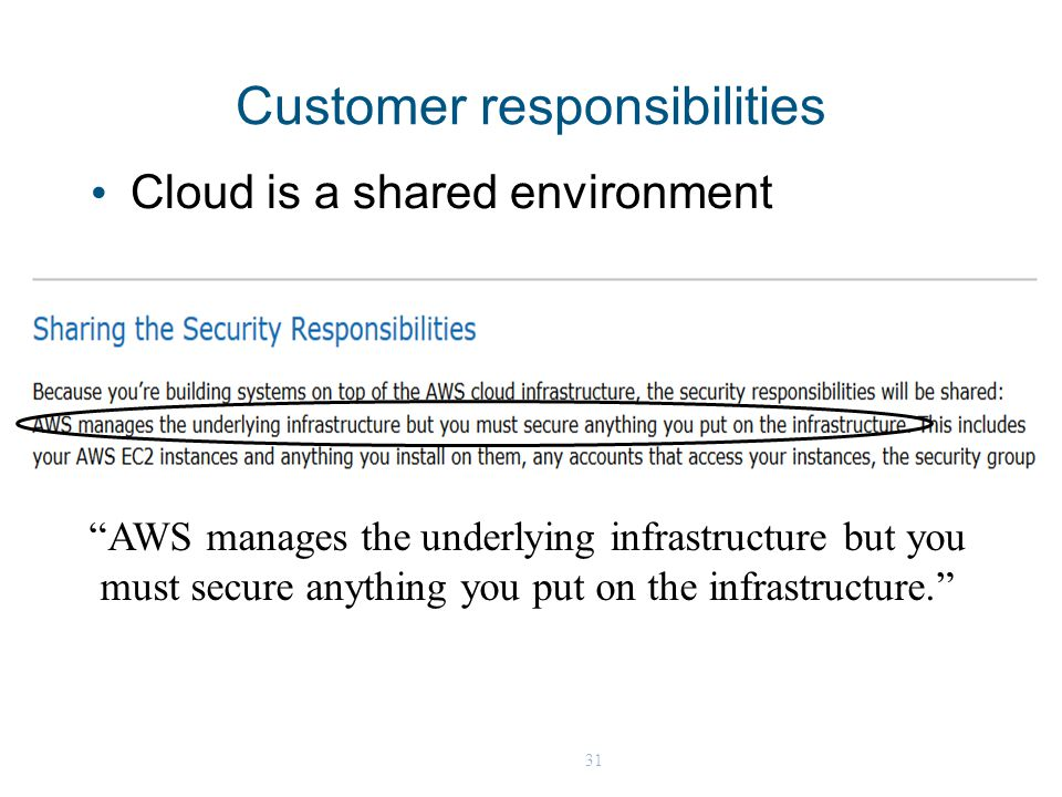 31 Customer responsibilities Cloud is a shared environment AWS manages the underlying infrastructure but you must secure anything you put on the infrastructure.