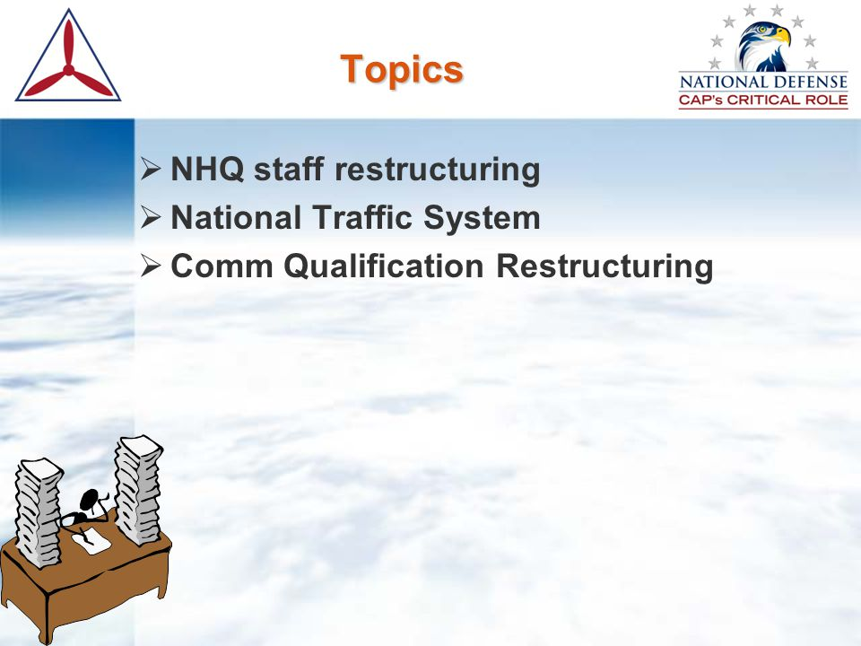 Topics  NHQ staff restructuring  National Traffic System  Comm Qualification Restructuring