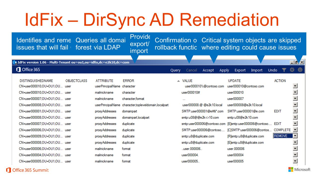 IdFix – DirSync AD Remediation