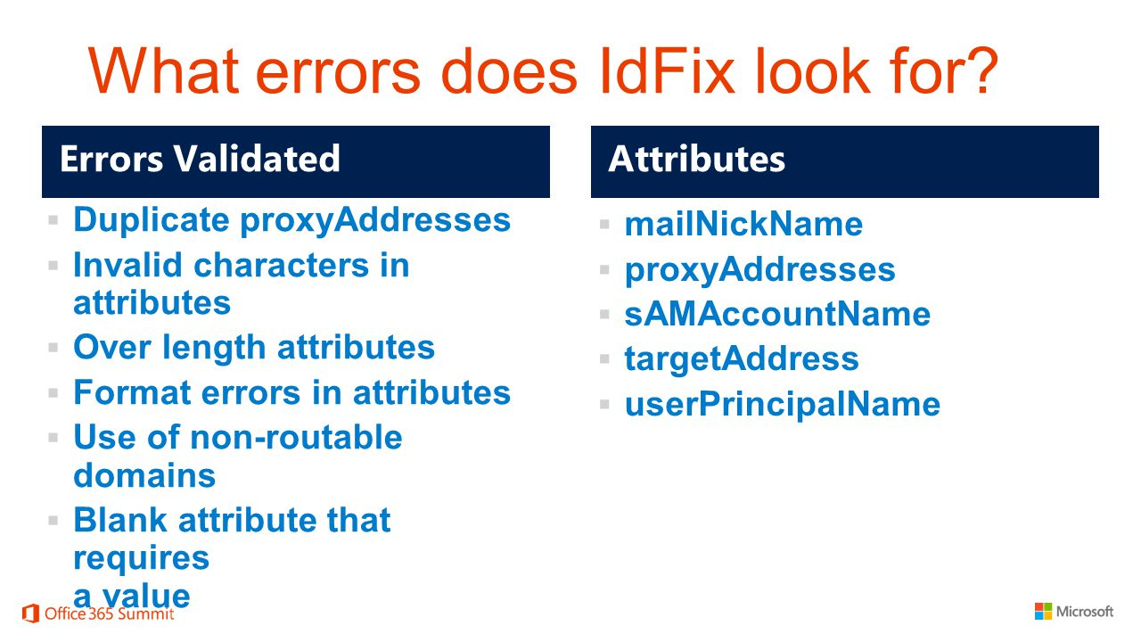 What errors does IdFix look for?  Duplicate proxyAddresses  Invalid characters in attributes  Over length attributes  Format errors in attributes