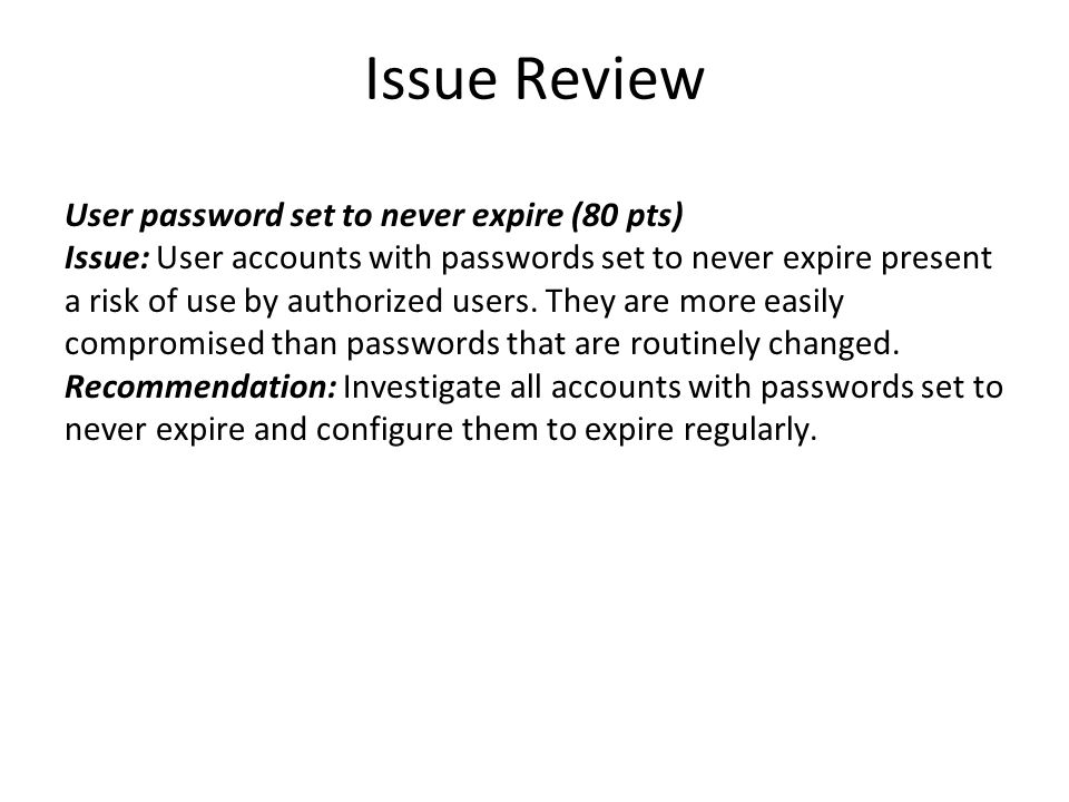 Issue Review Anti-virus not installed (94 pts) Issue: Anti-virus software was not detected on some computers.