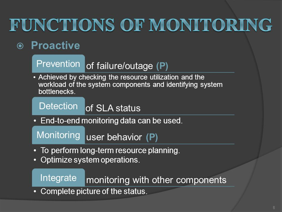  Proactive of failure/outage (P) Prevention Achieved by checking the resource utilization and the workload of the system components and identifying system bottlenecks.