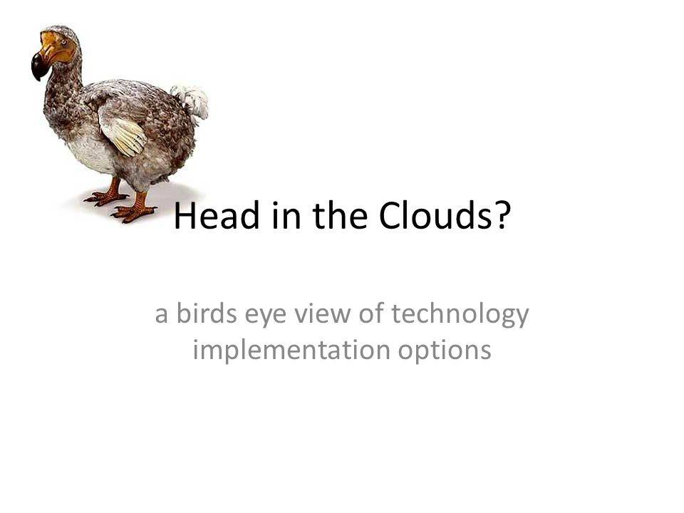 Head in the Clouds? a birds eye view of technology implementation options