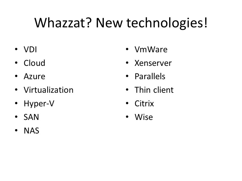 Whazzat. New technologies.