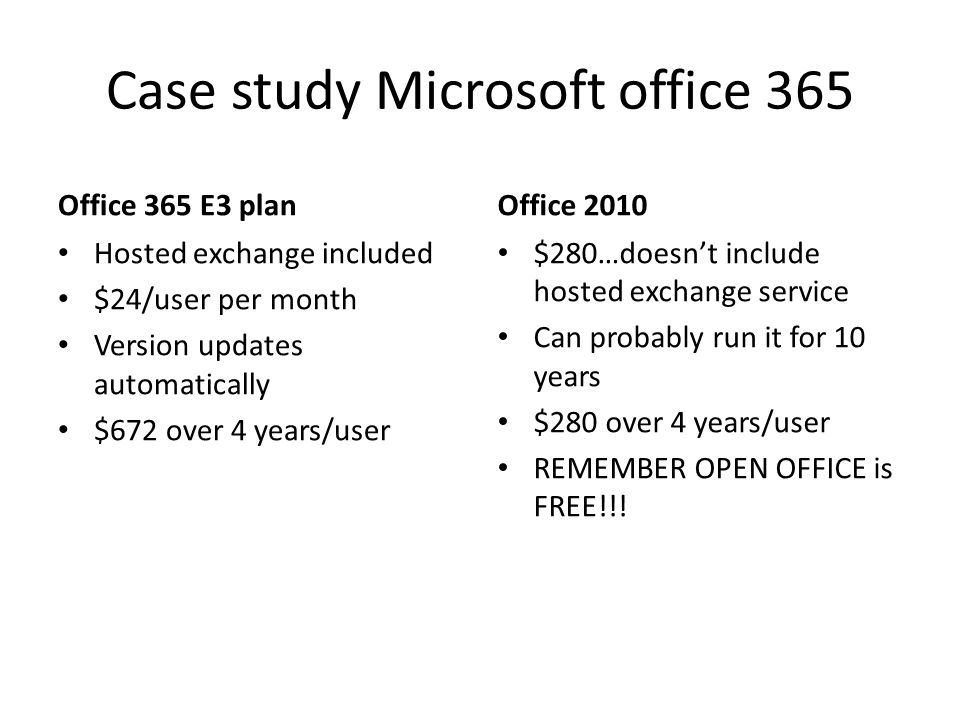 Case study Microsoft office 365 Office 365 E3 plan Hosted exchange included $24/user per month Version updates automatically $672 over 4 years/user Office 2010 $280…doesn't include hosted exchange service Can probably run it for 10 years $280 over 4 years/user REMEMBER OPEN OFFICE is FREE!!!