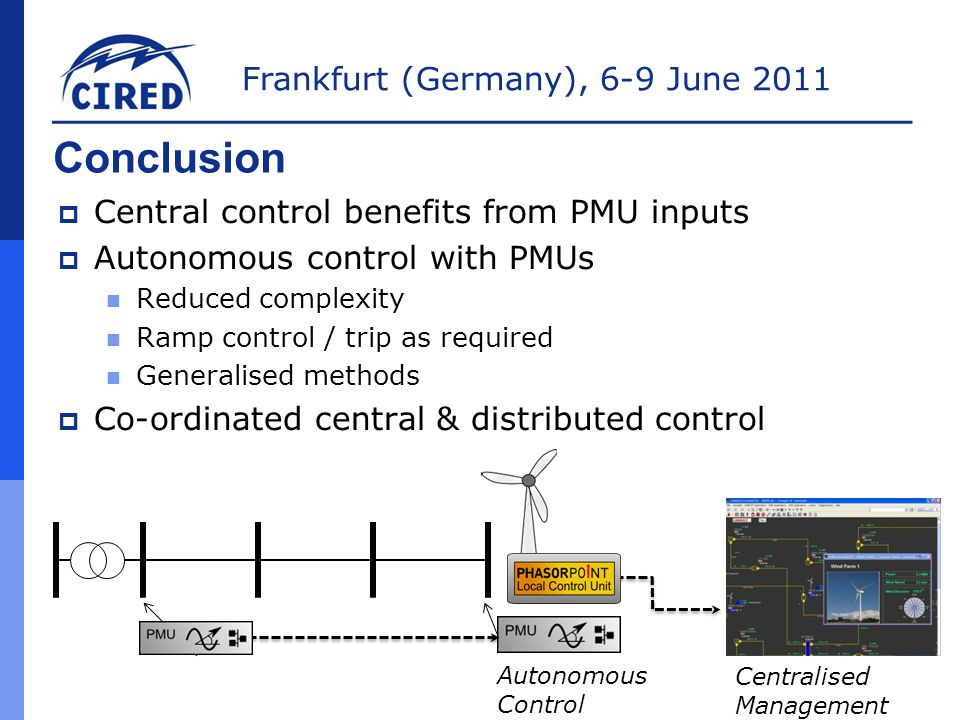 Frankfurt (Germany), 6-9 June 2011 Conclusion  Central control benefits from PMU inputs  Autonomous control with PMUs Reduced complexity Ramp control / trip as required Generalised methods  Co-ordinated central & distributed control Autonomous Control Centralised Management