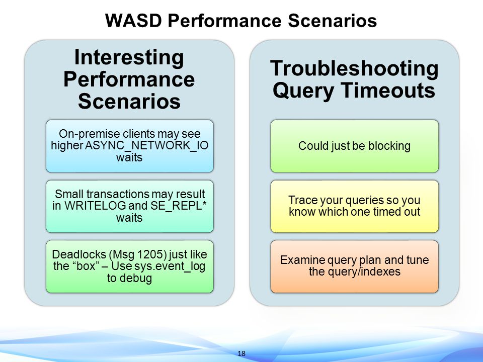 18 WASD Performance Scenarios Interesting Performance Scenarios On-premise clients may see higher ASYNC_NETWORK_IO waits Small transactions may result