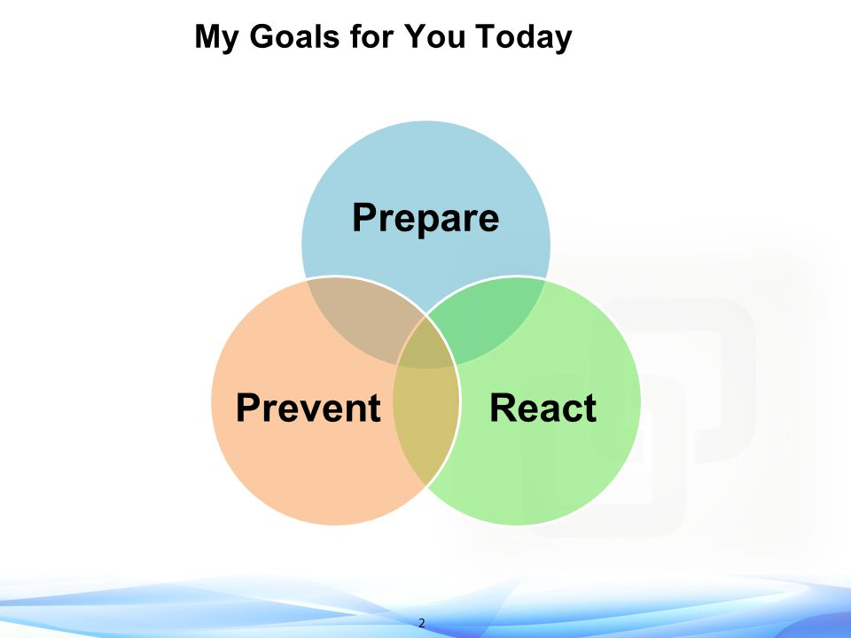 2 My Goals for You Today Prepare ReactPrevent