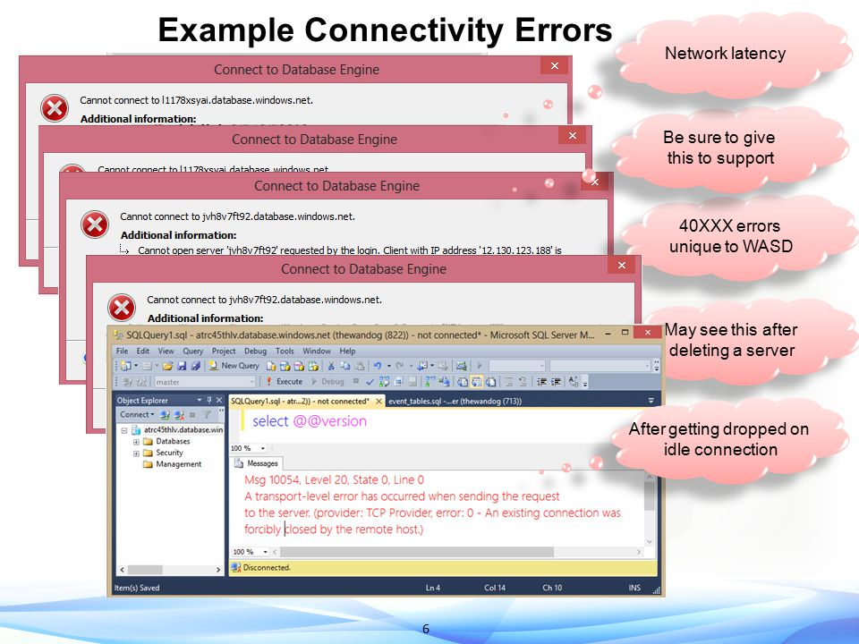 6 Example Connectivity Errors 40XXX errors unique to WASD 40XXX errors unique to WASD Be sure to give this to support Be sure to give this to support