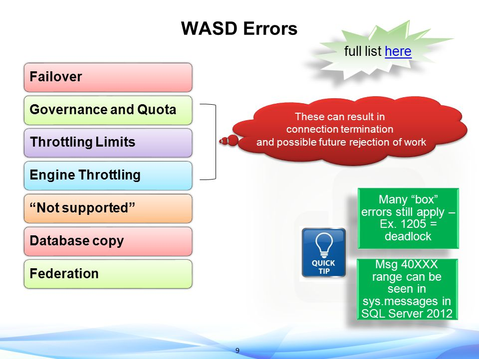 """9 WASD Errors FailoverGovernance and QuotaThrottling LimitsEngine Throttling""""Not supported""""Database copyFederation These can result in connection term"""
