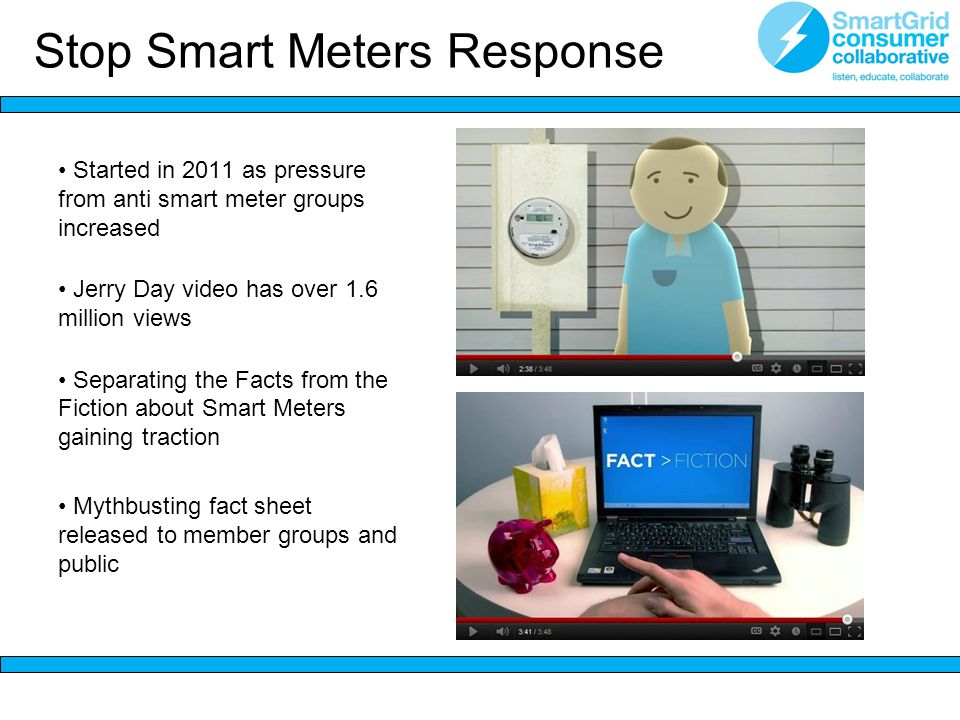 Stop Smart Meters Response Started in 2011 as pressure from anti smart meter groups increased Jerry Day video has over 1.6 million views Separating the Facts from the Fiction about Smart Meters gaining traction Mythbusting fact sheet released to member groups and public