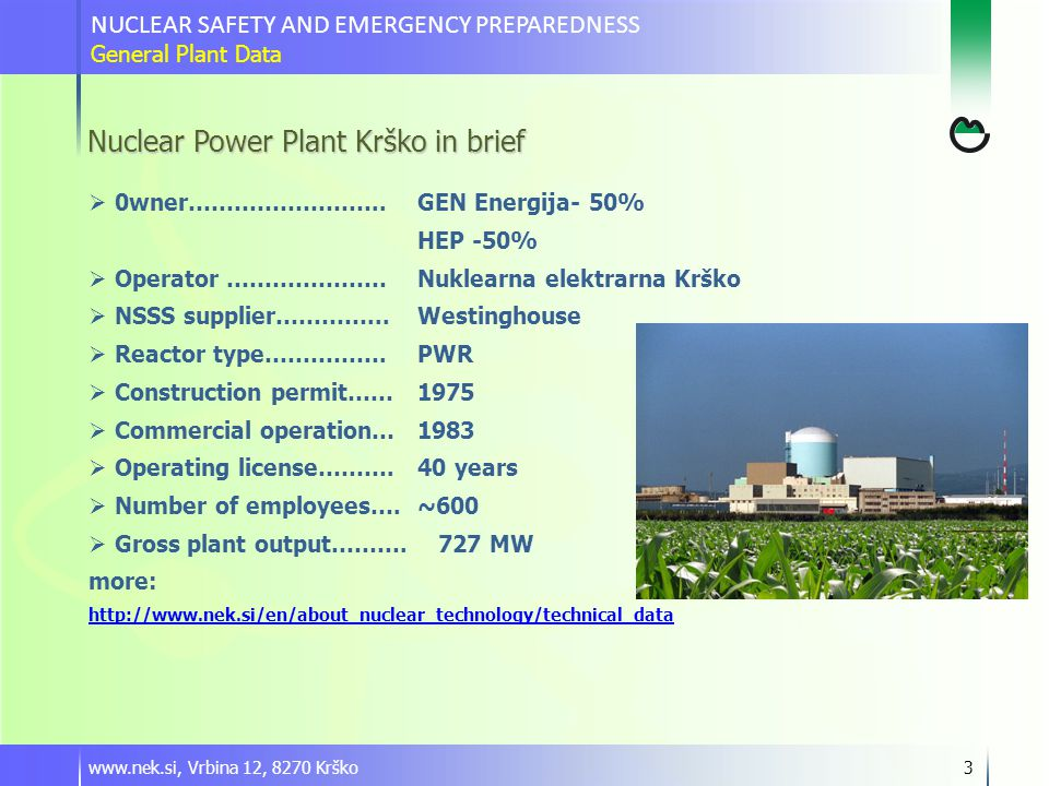 www.nek.si, Vrbina 12, 8270 Krško3 NUCLEAR SAFETY AND EMERGENCY PREPAREDNESS General Plant Data Nuclear Power Plant Krško in brief  0wner……………………..GEN Energija- 50% HEP -50%  Operator ………………… Nuklearna elektrarna Krško  NSSS supplier…………...Westinghouse  Reactor type…………….PWR  Construction permit……1975  Commercial operation…1983  Operating license……….40 years  Number of employees….~600  Gross plant output……….