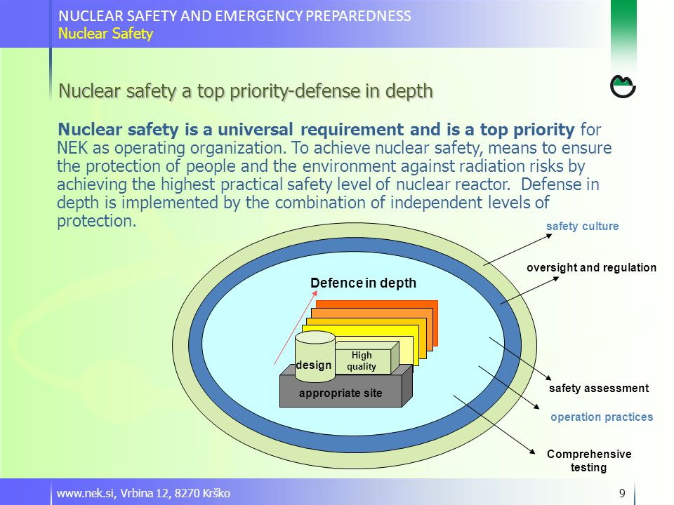 www.nek.si, Vrbina 12, 8270 Krško9 Nuclear safety a top priority-defense in depth Nuclear safety is a universal requirement and is a top priority for NEK as operating organization.