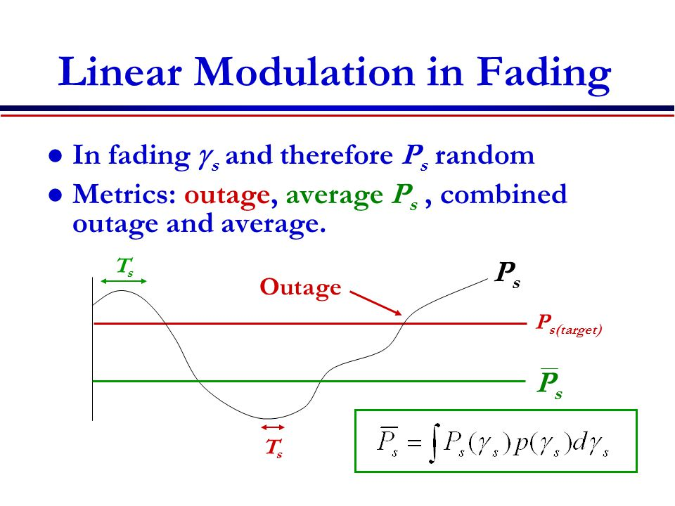 Linear Modulation in Fading In fading  s and therefore P s random Metrics: outage, average P s, combined outage and average.