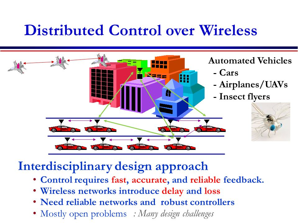 Distributed Control over Wireless Interdisciplinary design approach Control requires fast, accurate, and reliable feedback.