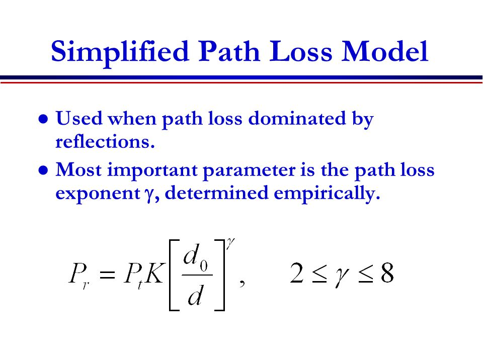 Simplified Path Loss Model Used when path loss dominated by reflections.
