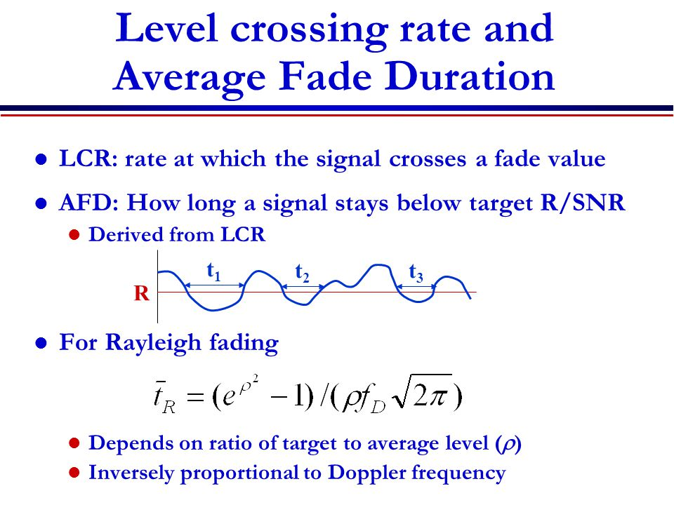 Level crossing rate and Average Fade Duration LCR: rate at which the signal crosses a fade value AFD: How long a signal stays below target R/SNR Derived from LCR For Rayleigh fading Depends on ratio of target to average level (  ) Inversely proportional to Doppler frequency R t1t1 t2t2 t3t3