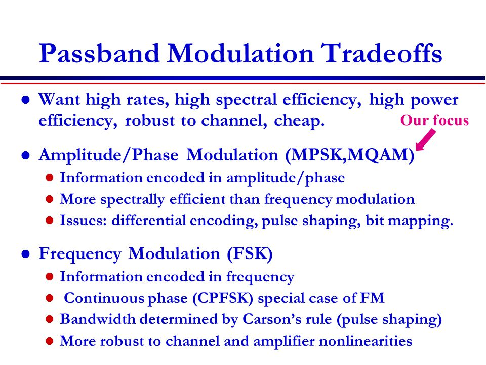 Passband Modulation Tradeoffs Want high rates, high spectral efficiency, high power efficiency, robust to channel, cheap.