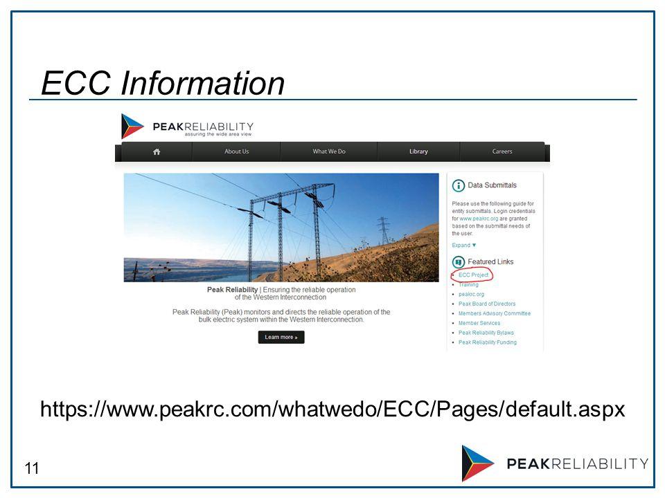 11 https://www.peakrc.com/whatwedo/ECC/Pages/default.aspx ECC Information