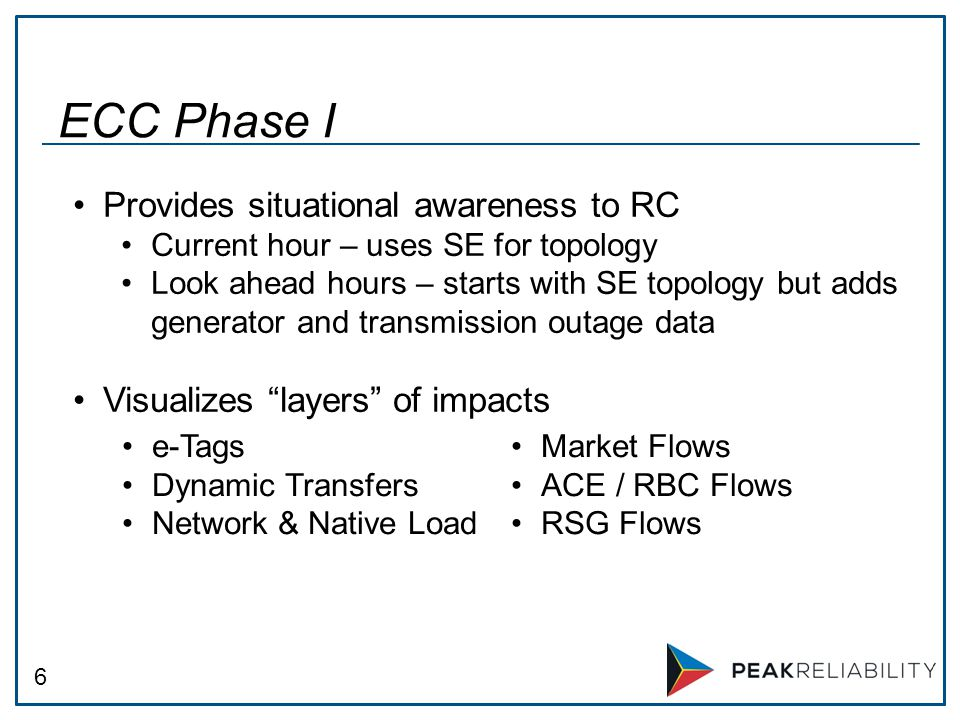 6 ECC Phase I e-Tags Dynamic Transfers Network & Native Load Market Flows ACE / RBC Flows RSG Flows Provides situational awareness to RC Current hour – uses SE for topology Look ahead hours – starts with SE topology but adds generator and transmission outage data Visualizes layers of impacts