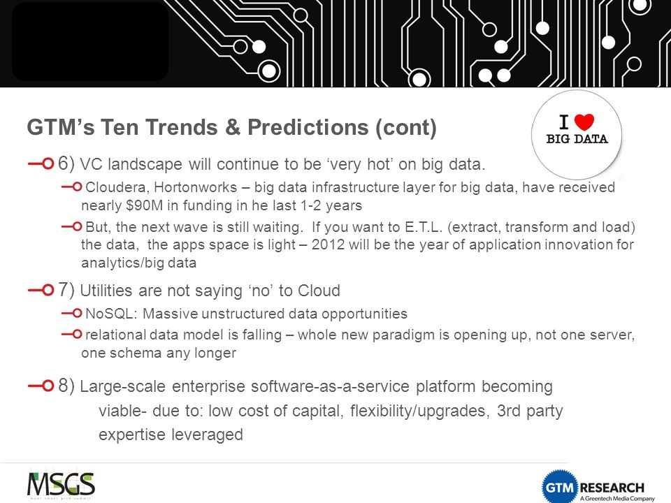 GTM's Ten Trends & Predictions (cont) 6) VC landscape will continue to be 'very hot' on big data.