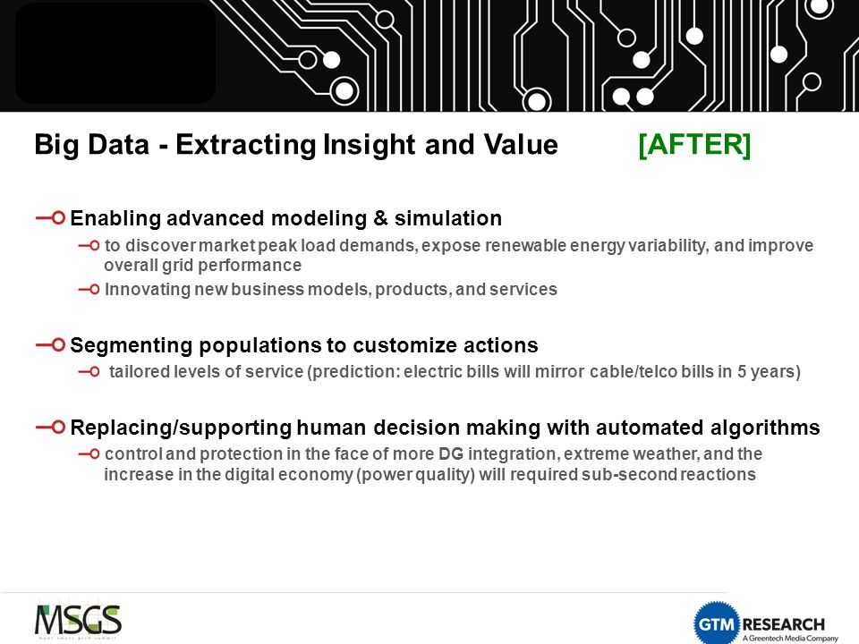 Big Data - Extracting Insight and Value [AFTER] Enabling advanced modeling & simulation to discover market peak load demands, expose renewable energy variability, and improve overall grid performance Innovating new business models, products, and services Segmenting populations to customize actions tailored levels of service (prediction: electric bills will mirror cable/telco bills in 5 years) Replacing/supporting human decision making with automated algorithms control and protection in the face of more DG integration, extreme weather, and the increase in the digital economy (power quality) will required sub-second reactions