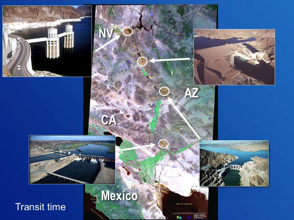 Transit time NV AZ CA Mexico