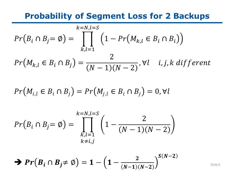 Probability of Segment Loss for 2 Backups Slide 6