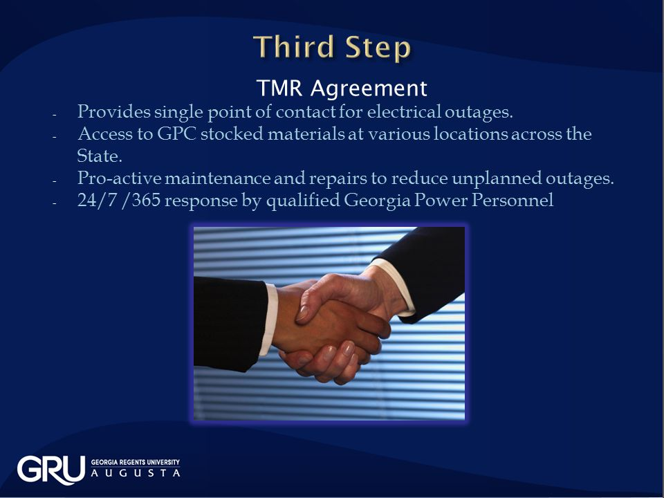 TMR Agreement - Provides single point of contact for electrical outages.