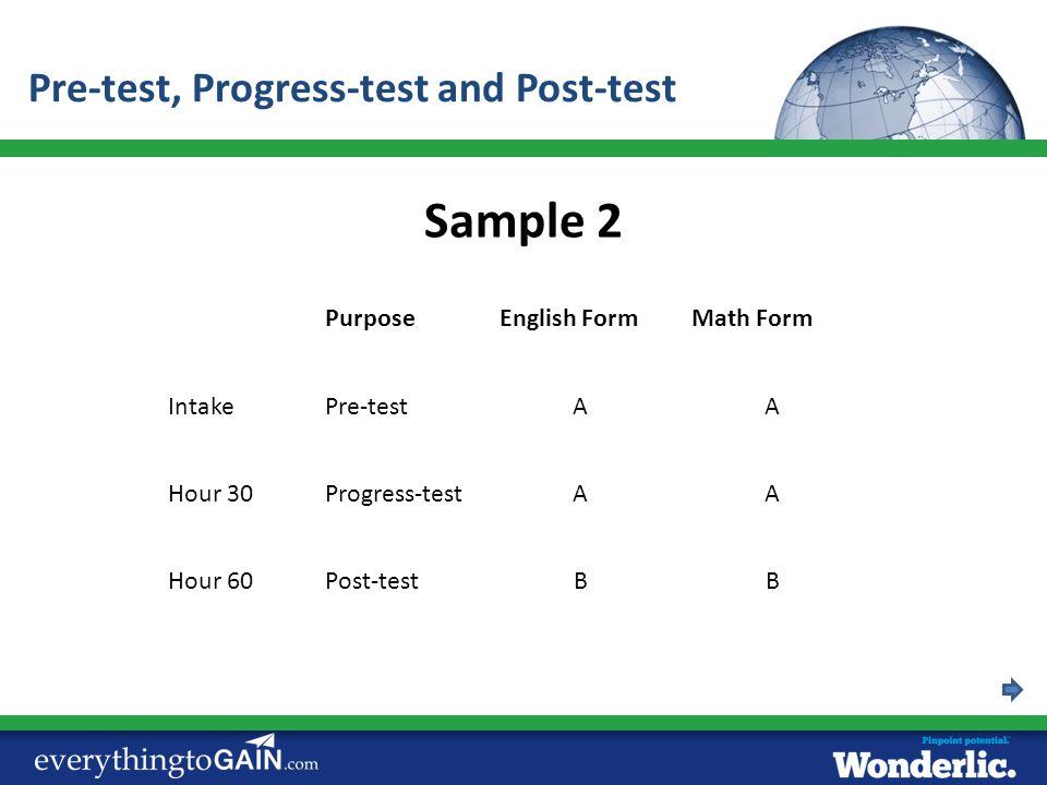PurposeEnglish FormMath Form IntakePre-testAA Hour 30Progress-testAA Sample 2 Hour 60Post-testBB Pre-test, Progress-test and Post-test