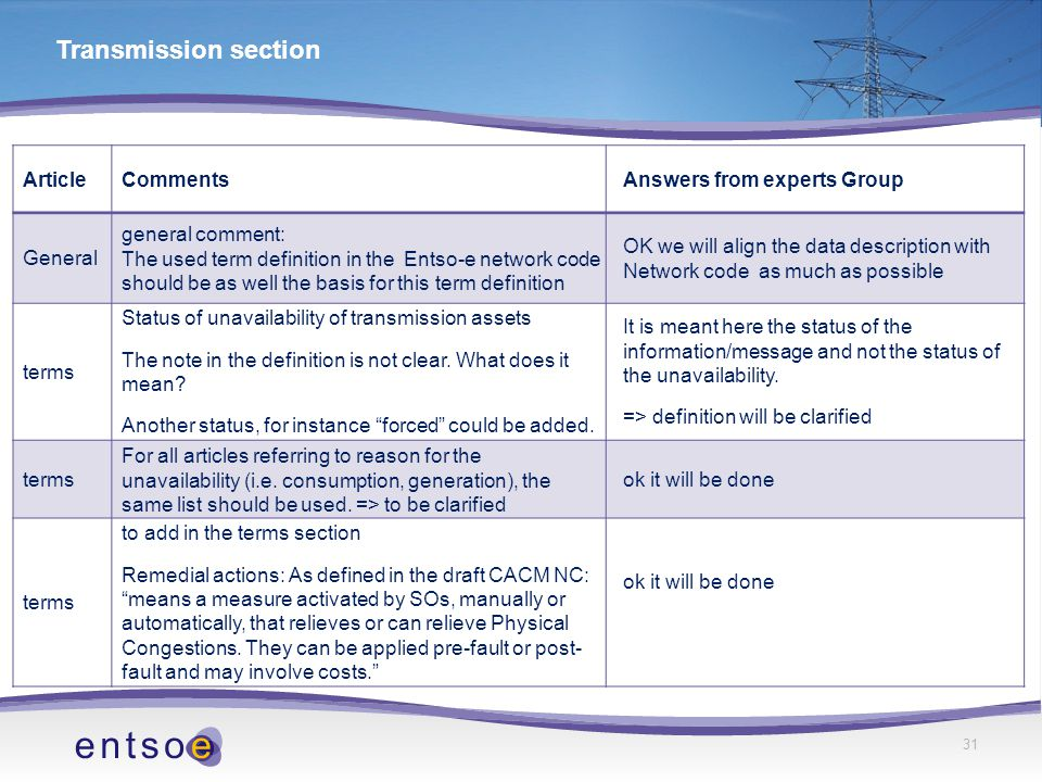 31 Transmission section ArticleCommentsAnswers from experts Group General general comment: The used term definition in the Entso-e network code should be as well the basis for this term definition OK we will align the data description with Network code as much as possible terms Status of unavailability of transmission assets The note in the definition is not clear.