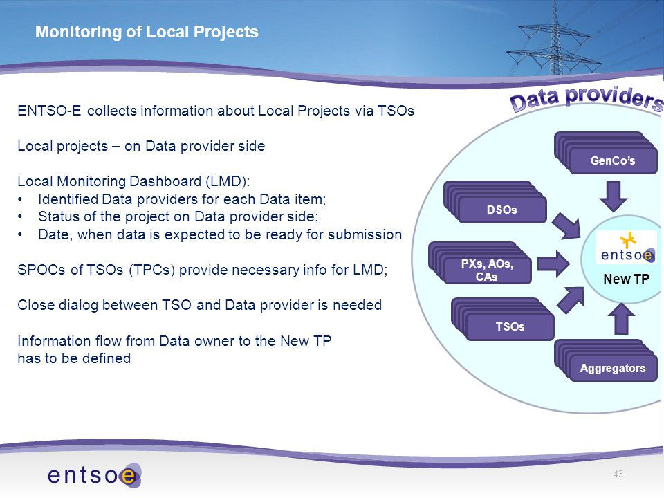 ENTSO-E collects information about Local Projects via TSOs Local projects – on Data provider side Local Monitoring Dashboard (LMD): Identified Data providers for each Data item; Status of the project on Data provider side; Date, when data is expected to be ready for submission SPOCs of TSOs (TPCs) provide necessary info for LMD; Close dialog between TSO and Data provider is needed Information flow from Data owner to the New TP has to be defined 43 Monitoring of Local Projects Aggregators TSOs Aggregators PXs, AOs, CAs Aggregators DSOs Aggregators GenCo's New TP