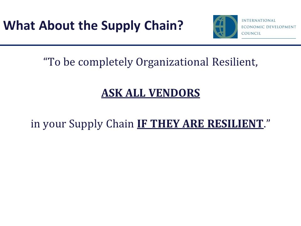 What About the Supply Chain.
