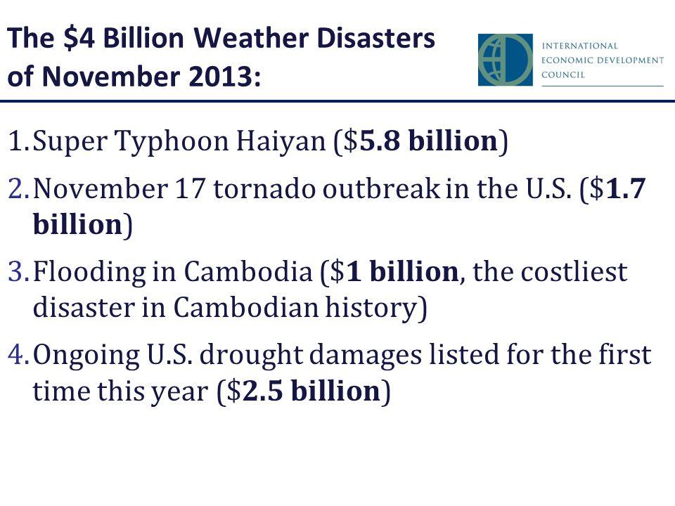 The $4 Billion Weather Disasters of November 2013: 1.Super Typhoon Haiyan ($5.8 billion) 2.November 17 tornado outbreak in the U.S. ($1.7 billion) 3.F