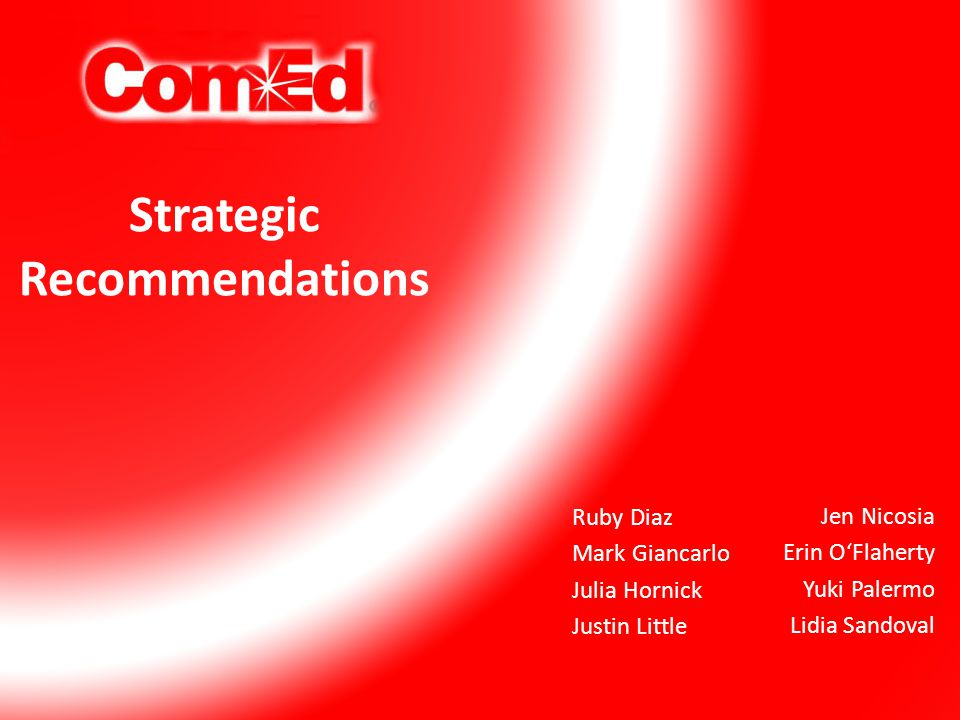 Strategic Recommendations Jen Nicosia Erin O'Flaherty Yuki Palermo Lidia Sandoval Ruby Diaz Mark Giancarlo Julia Hornick Justin Little