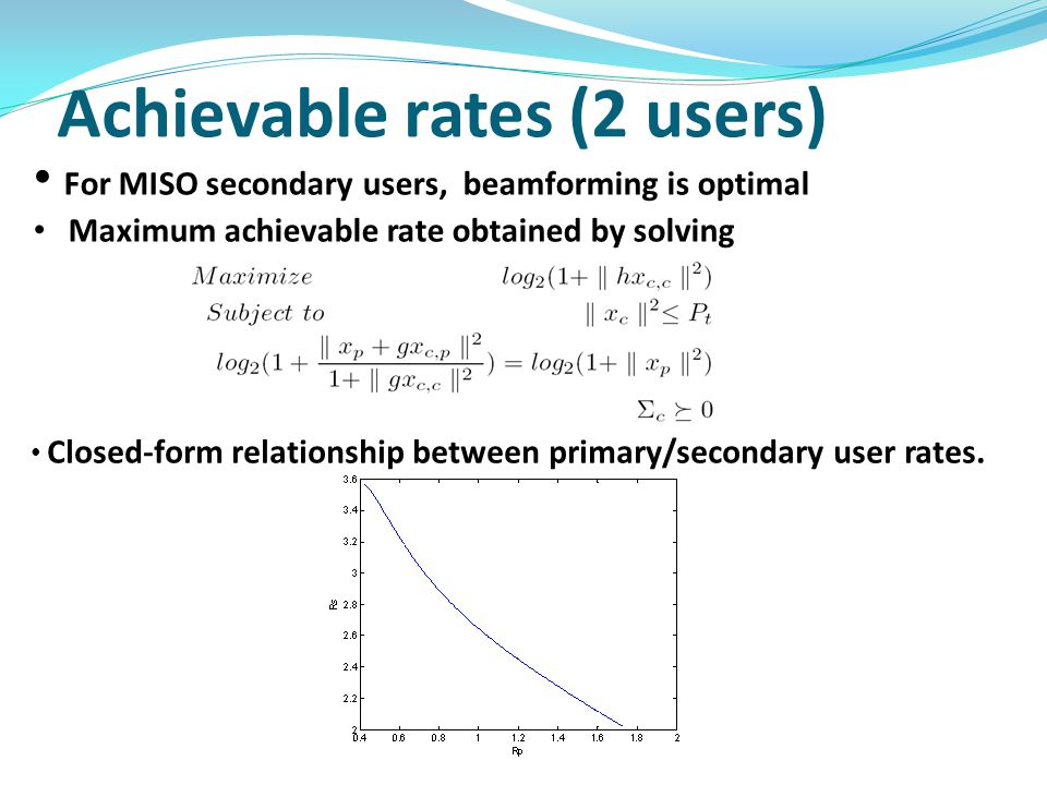 Achievable rates (2 users) For MISO secondary users, beamforming is optimal Maximum achievable rate obtained by solving Closed-form relationship between primary/secondary user rates.