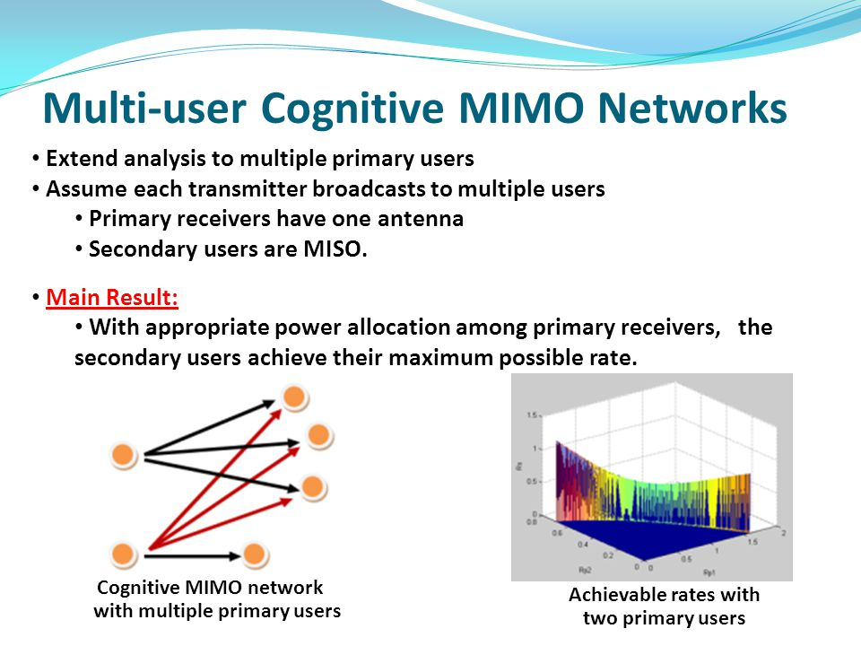 Multi-user Cognitive MIMO Networks Achievable rates with two primary users Cognitive MIMO network with multiple primary users Extend analysis to multiple primary users Assume each transmitter broadcasts to multiple users Primary receivers have one antenna Secondary users are MISO.
