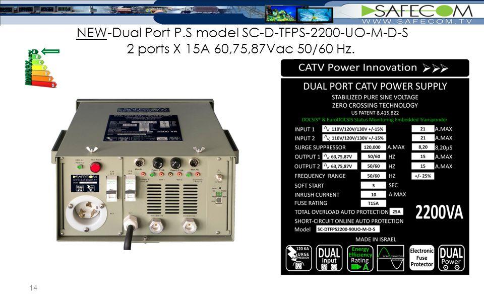 NEW-Dual Port P.S model SC-D-TFPS-2200-UO-M-D-S 2 ports X 15A 60,75,87Vac 50/60 Hz. 14
