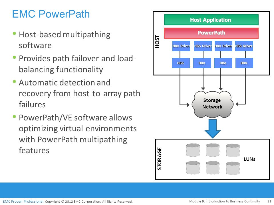 EMC Proven Professional. Copyright © 2012 EMC Corporation. All Rights Reserved.  Host-based multipathing software  Provides path failover and load-
