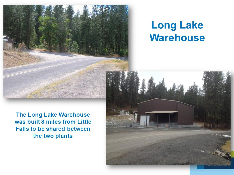 Long Lake Warehouse The Long Lake Warehouse was built 8 miles from Little Falls to be shared between the two plants