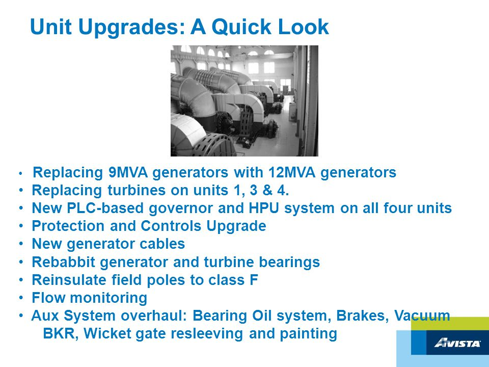 Unit Upgrades: A Quick Look Replacing 9MVA generators with 12MVA generators Replacing turbines on units 1, 3 & 4.