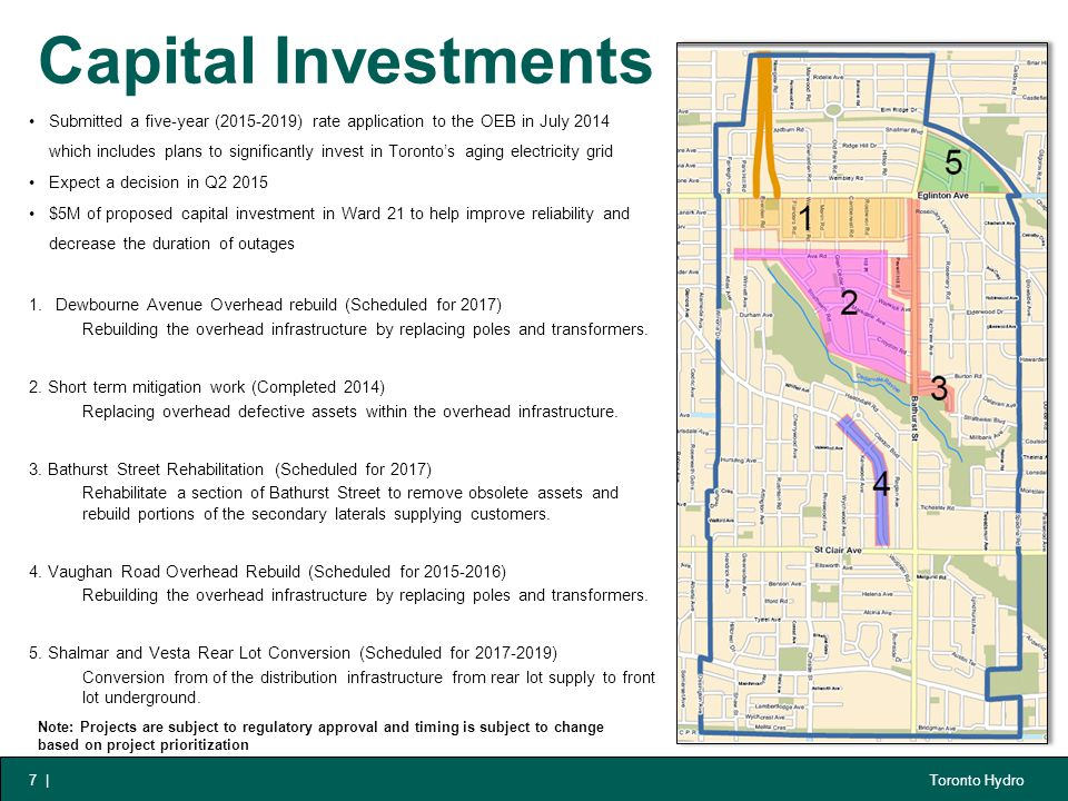 Toronto Hydro Capital Investments 7 | Submitted a five-year (2015-2019) rate application to the OEB in July 2014 which includes plans to significantly invest in Toronto's aging electricity grid Expect a decision in Q2 2015 $5M of proposed capital investment in Ward 21 to help improve reliability and decrease the duration of outages 1.Dewbourne Avenue Overhead rebuild (Scheduled for 2017) Rebuilding the overhead infrastructure by replacing poles and transformers.