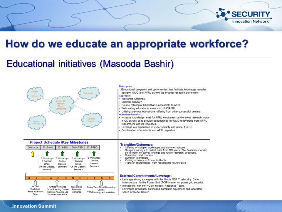 How do we educate an appropriate workforce? Educational initiatives (Masooda Bashir)